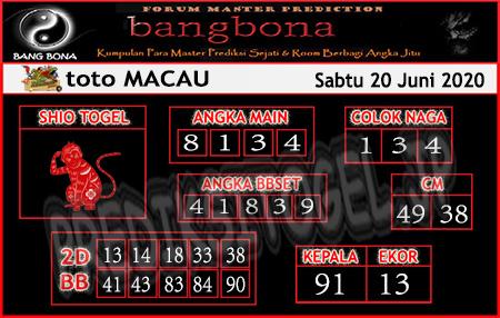 Prediksi Toto Macau Bang Bona Sabtu 20 Juni 2020
