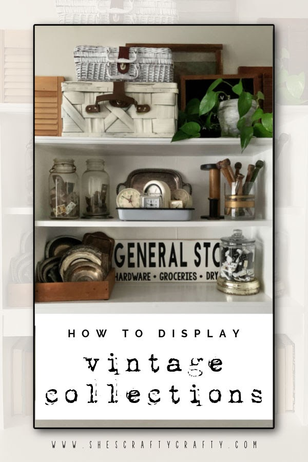 How to Decorate with Vintage Collections displayed in a cupboard.