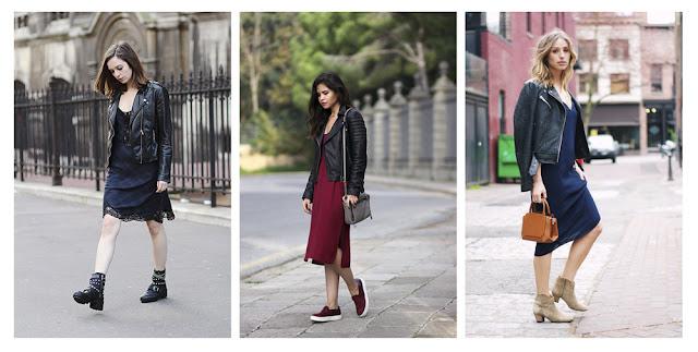 Платье-комбинация с кожаной курткой косухой