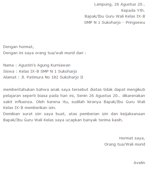 Contoh Surat Izin Sakit Sekolah SMP (via: contoh-surat.org)