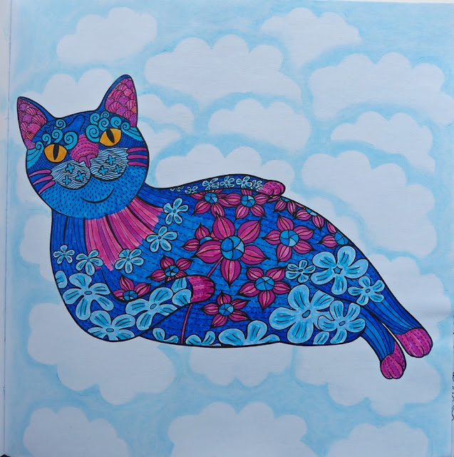 Floral cat in clouds coloring page