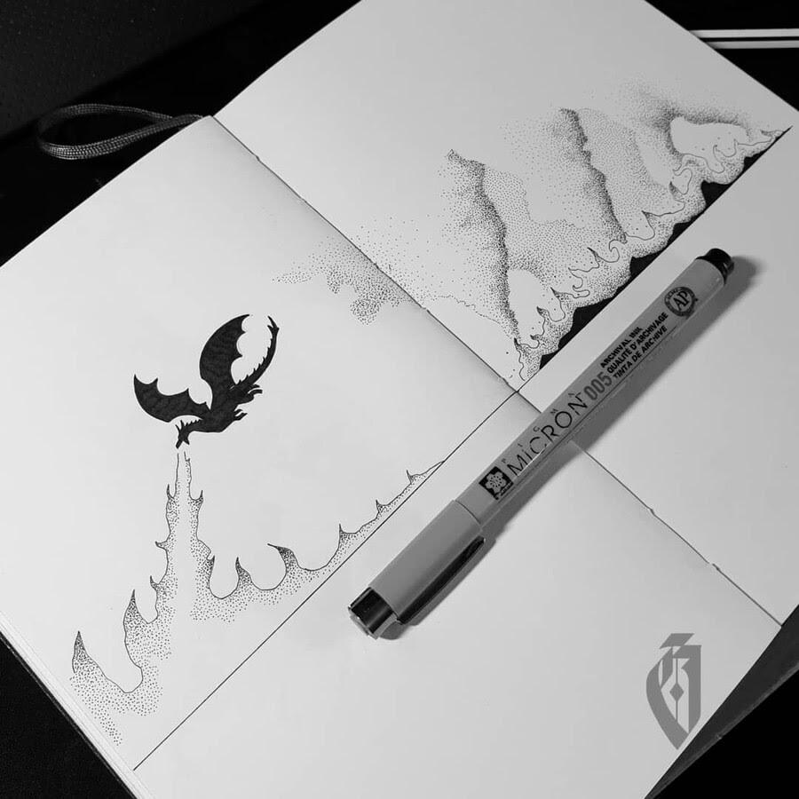06-Dragon-breathing-fire-bloopdots-www-designstack-co
