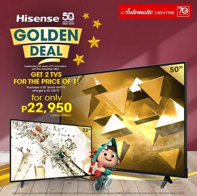 Sale Alert: Hisense 50-inch Ultra HD Smart LED TV Comes with FREE 32-inch LED TV for only Php22,950!