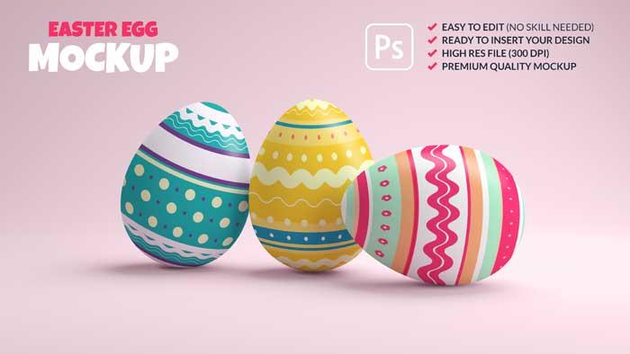 3D Rendering Premium Easter Eggs PSD Mockup