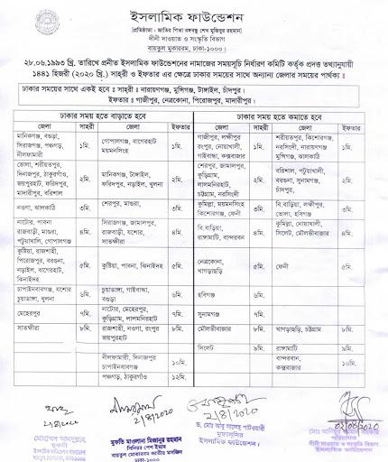 Bangladesh Islamic Foundation Ramadan Sehri and Iftar Calendar