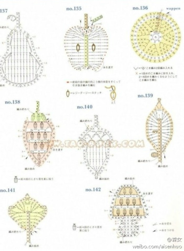 8 patrones crochet de apliques con forma de frutas | Todo crochet