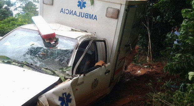 La ambulancia siniestrada.
