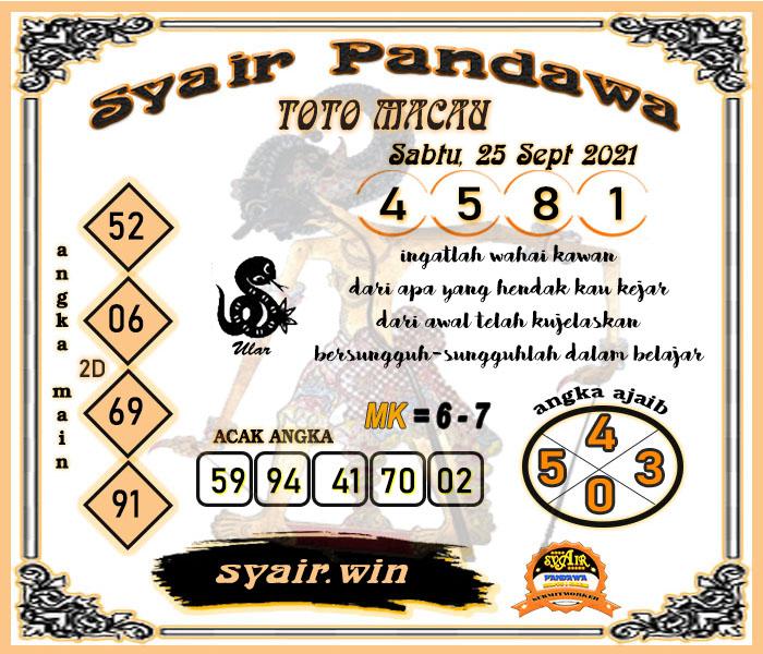 Syair Pandawa Toto Macau Sabtu 25 September 2021