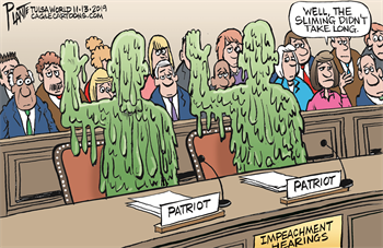 Witnesses being sworn in at Impeachment hearing, covered in green goop.  One member of the audience says to another,