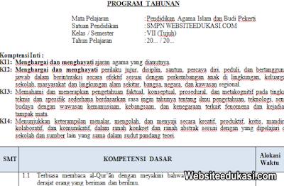 Prota PAI Kelas 7 Kurikulum 2013 Revisi Terbaru