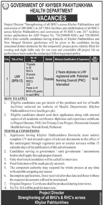Health Department Jobs 2021 For Lady Health Visitors LHV