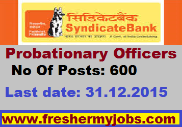 syndicate bank,Bank jobs