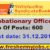 Syndicate Bank Recruitment for Probationary Officers  2015