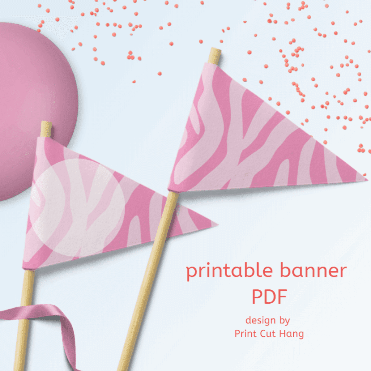 Printable Pink Zebra Party Pennants