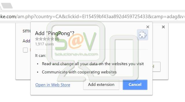 PingPong (Extensión falsa de Google Chrome)