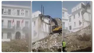 إنطلاق عملية هدم مقر إتحاد الشغل في شارع محمد علي الحامي بالعاصمة تمهيدا لبناء المقر الجديد البالغ كلفته 15 مليار