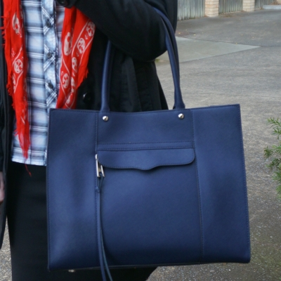 Rebecca Minkoff medium MAB tote in moon navy with black