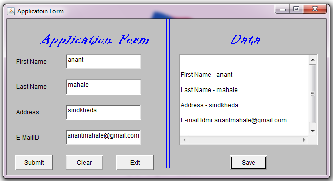 java programs program in java simple application form with awt