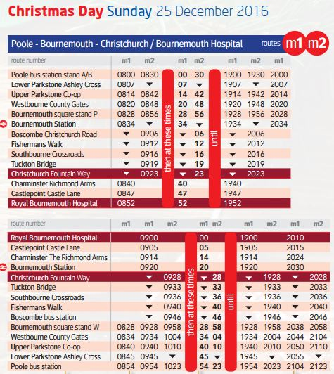the usual routes are extended so that the m1 runs from poole via bournemouth to castlepoint and on to the royal bournemouth hospital - When Is Christmas Day 2016