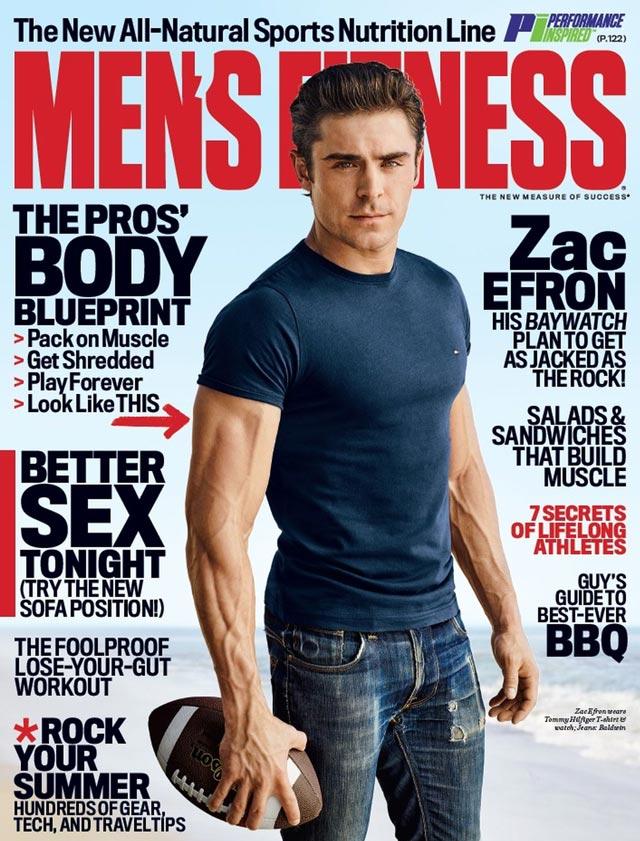 Zac Efron mostra o físico sarado na capa da Men's Fitness de junho. Foto: Jeff Lipsky