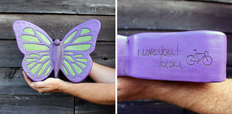 Purple and Lime Green Butterfly Urn