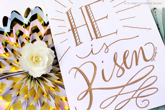 easter art print, He is risen, faith art print, inspirational, gold letters