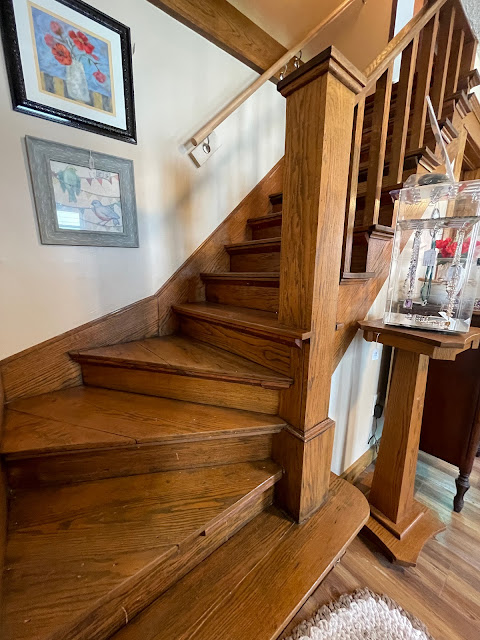 staircase photo Grafton Illinois coffee antiques shop Lightkeepers Coffee 101 E Main St Sears Vallonia