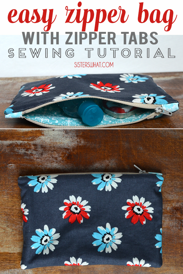 easy zipper bag with tabs perfect for a gift bag - a great beginner sewing tutorial