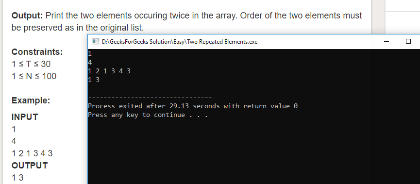 Geeksforgeeks Solution For Two Repeated Elements