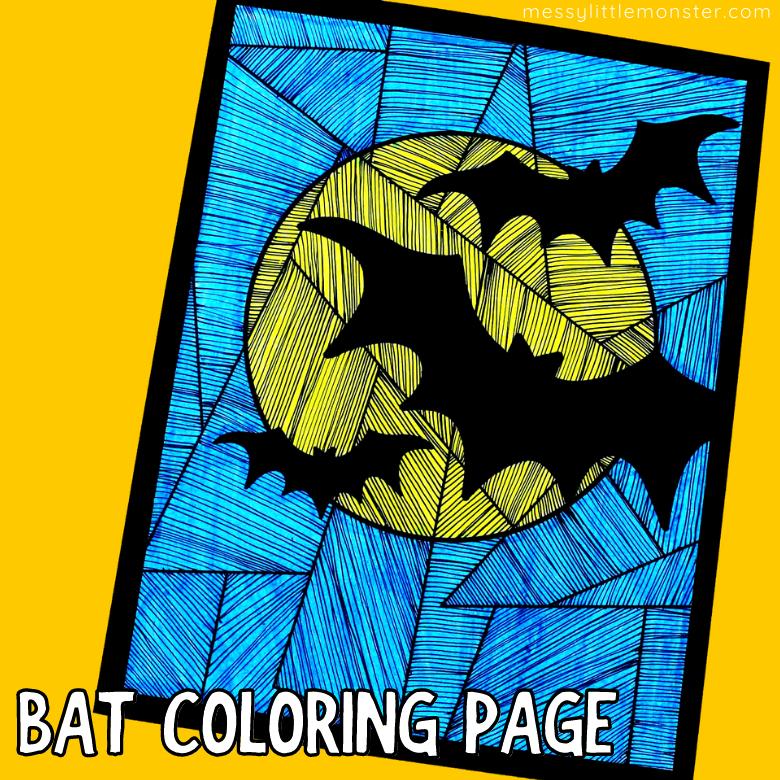 Bat colouring page