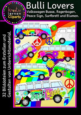 32 Bilddateien von VW Bussen, Bullis, Regenbogen, Surfboards, Blumen zum Erstellen von Unterrichtsmaterial und Arbeitsblättern für die Grundschule