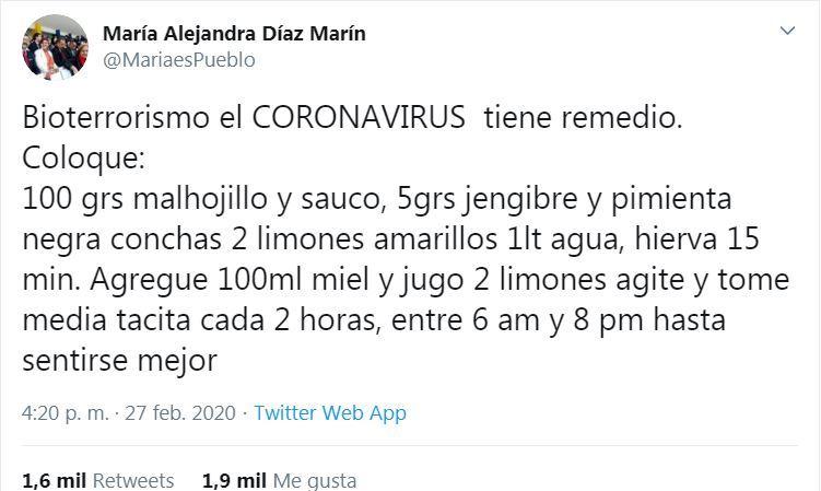 Constituyentista chavista asegura que tiene la receta contra el Coronavirus