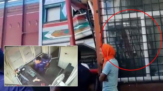 VIDEO - Pengawal Keselamatan nyaris maut dirempuh treler