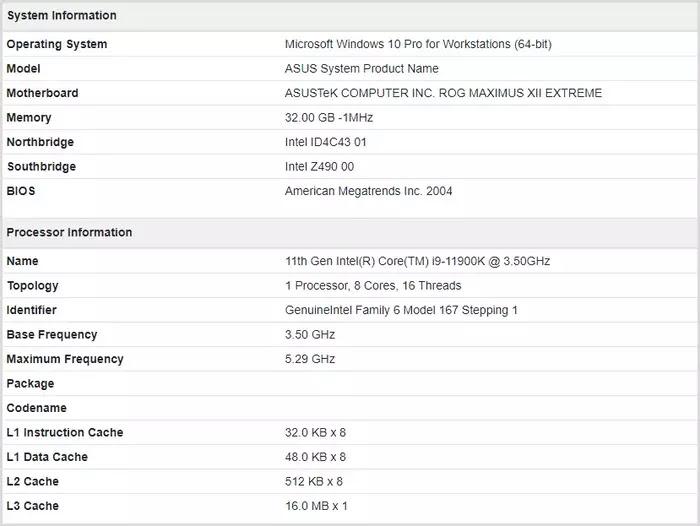 Intel Core i9-11900K Sistem bilgisi