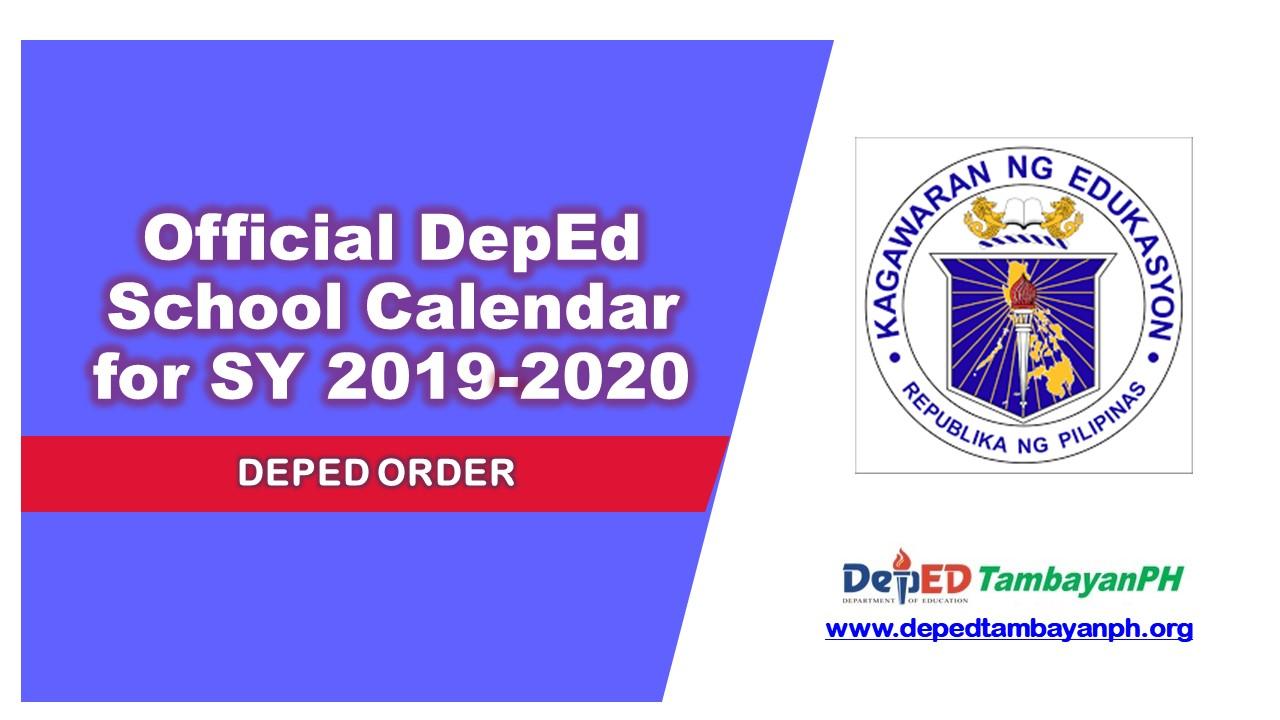 Act Calendar 2020 Official DepEd School Calendar for School Year 2019 2020   Deped
