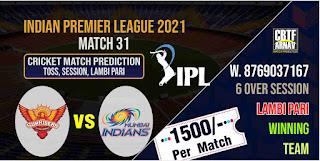 IPL 2021 Match 31st Mumbai vs Hyderabad Today Match Prediction 100% Sure Winner