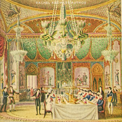 A banquet at the Royal Pavilion, Brighton from the coloured lithograph by J Nash in Life in Regency and Early Victorian Times by EB Chancellor (1926)
