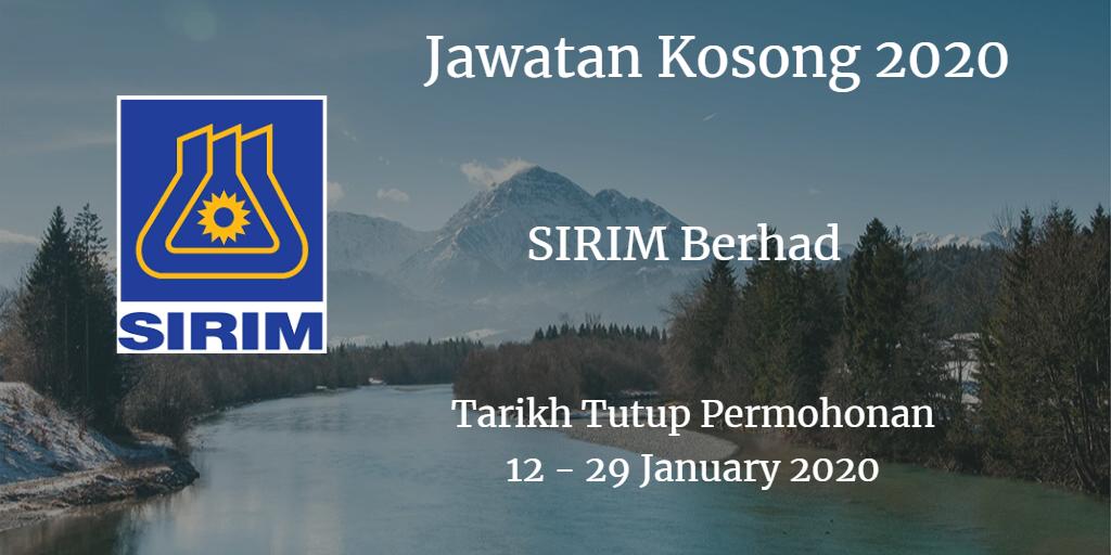 Jawatan Kosong SIRIM Berhad 12 - 29 Februari 2020