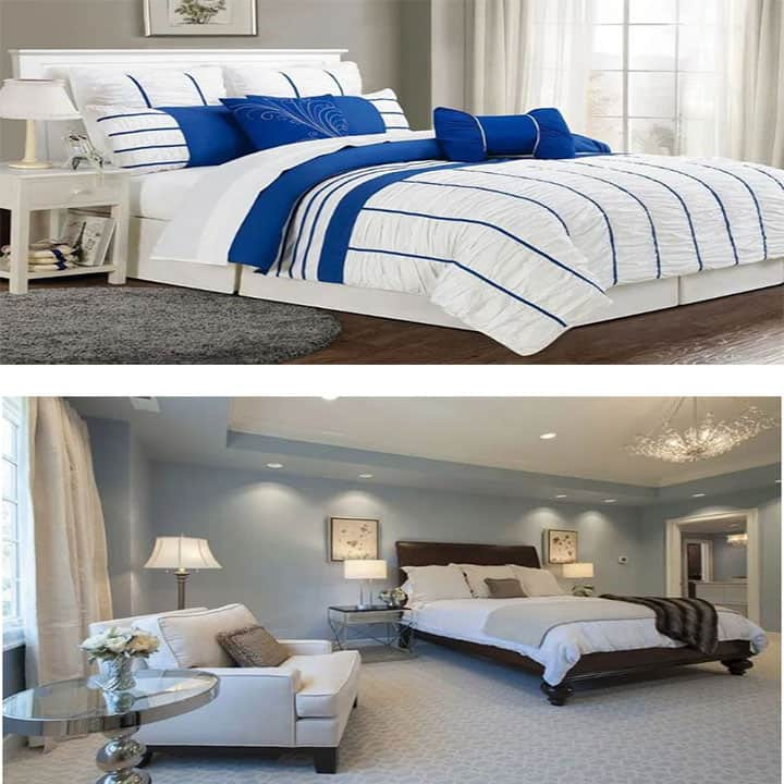 غرفة نوم باللون الأزرق والرمادي