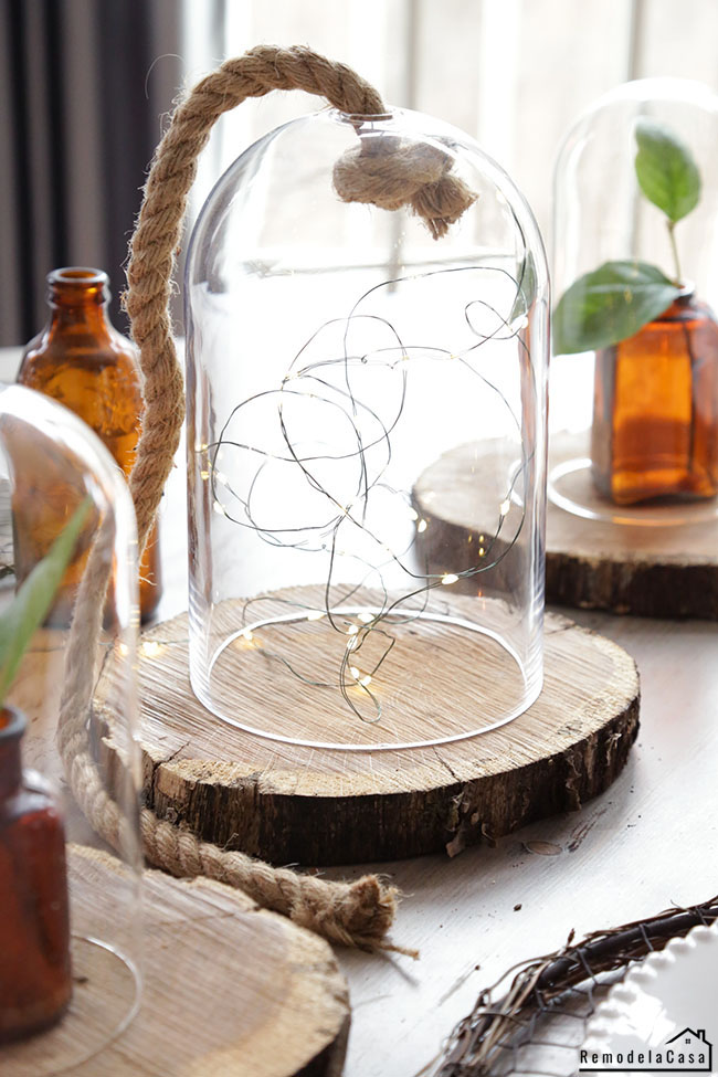 rustic table decor - wedding centerpiece with fairy lights inside cloche #thdprospective