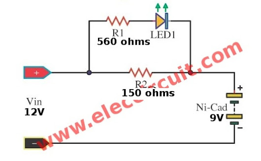 Circuit Schematic Simple 9 Volts NiHM-Nicd Battery Charger