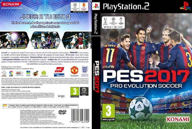 Descargar Pro Evolution Soccer 2017 (PES 2017) NTSC-PAL ps2 Formato iso en Español Latino para la consola PlayStation 2 en un solo link.
