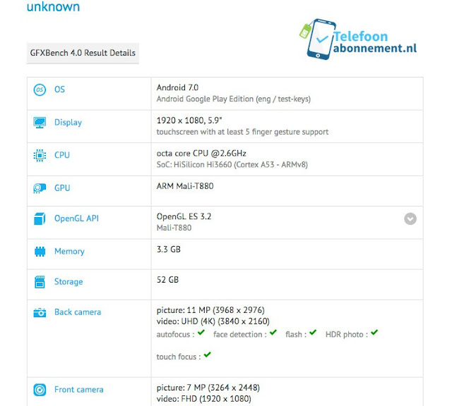 Huawei Mate 9 Specs Leaked Via GFX Benchmark