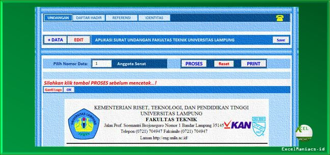 Aplikasi Excel Surat Undangan Dinas