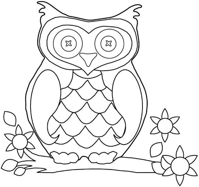 Gambar Mewarnai Burung Hantu Untuk Anak