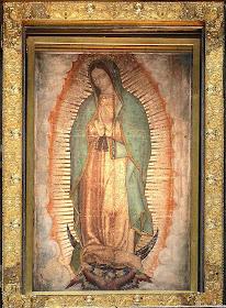 A imagem aqueropita (não pintada por mão humana)  de Nossa Senhora de Guadalupe, no seu santuário, Cidade do México