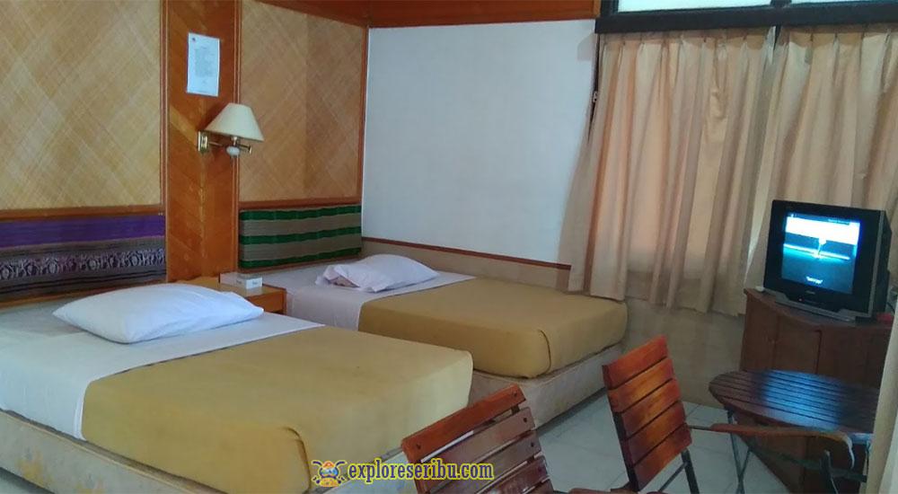 kamar dua bed ciputih resort ujung kulon
