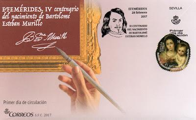 Sobre Primer día del sello efeméride de Bartolomé Esteban Murillo. Sello: La Virgen de la Servilleta