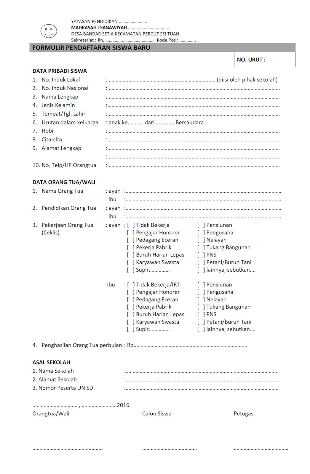 Contoh Formulir Pendaftaran Sekolah : contoh, formulir, pendaftaran, sekolah, Contoh, Formulir