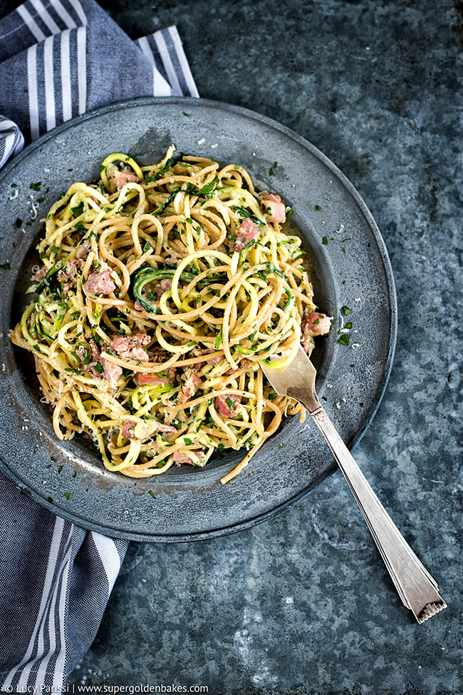 Lightened up 15 minute carbonara with spelt spaghetti and zoodles - no ...